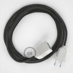 Rallonge électrique avec câble textile RM26 Effet Soie Gris Foncé 2P 10A Made in Italy.