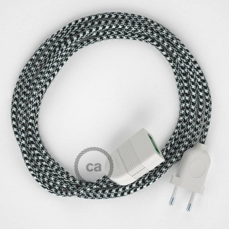 Rallonge électrique avec câble textile RP04 Effet Soie Bicolore Blanc-Noir 2P 10A Made in Italy.
