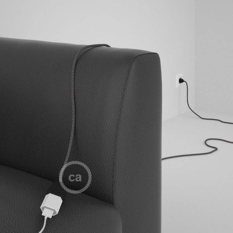 Rallonge électrique avec câble textile RS81 Coton et Lin Naturel Noir 2P 10A Made in Italy.