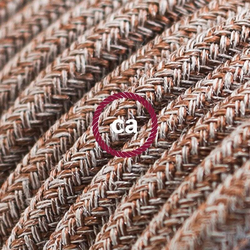Rallonge électrique avec câble textile RS82 Coton et Lin Naturel Marron 2P 10A Made in Italy.