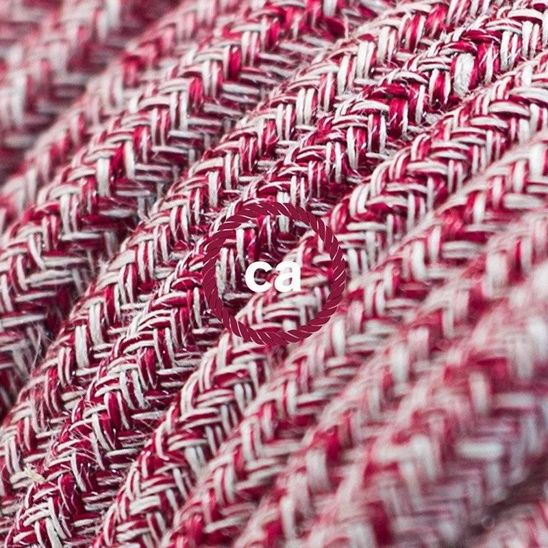 Rallonge électrique avec câble textile RS83 Coton et Lin Naturel Rouge 2P 10A Made in Italy.