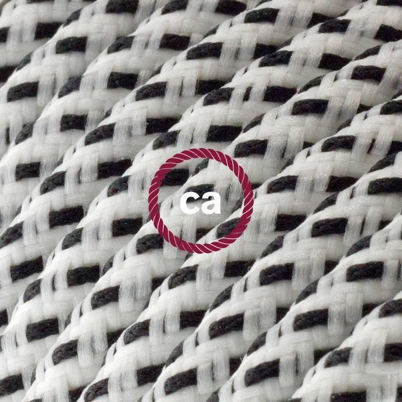 Rallonge électrique avec câble textile RT14 Effet Soie Stracciatella 2P 10A Made in Italy.