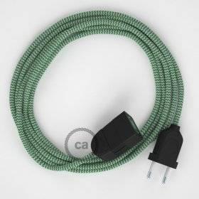 Rallonge électrique avec câble textile RZ06 Effet Soie ZigZag Blanc-Vert 2P 10A Made in Italy.