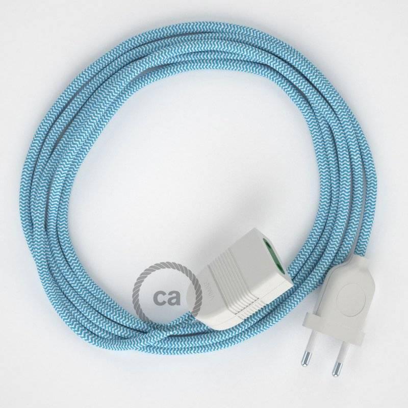 Rallonge électrique avec câble textile RZ11 Effet Soie ZigZag Blanc-Bleu Clair 2P 10A Made in Italy.