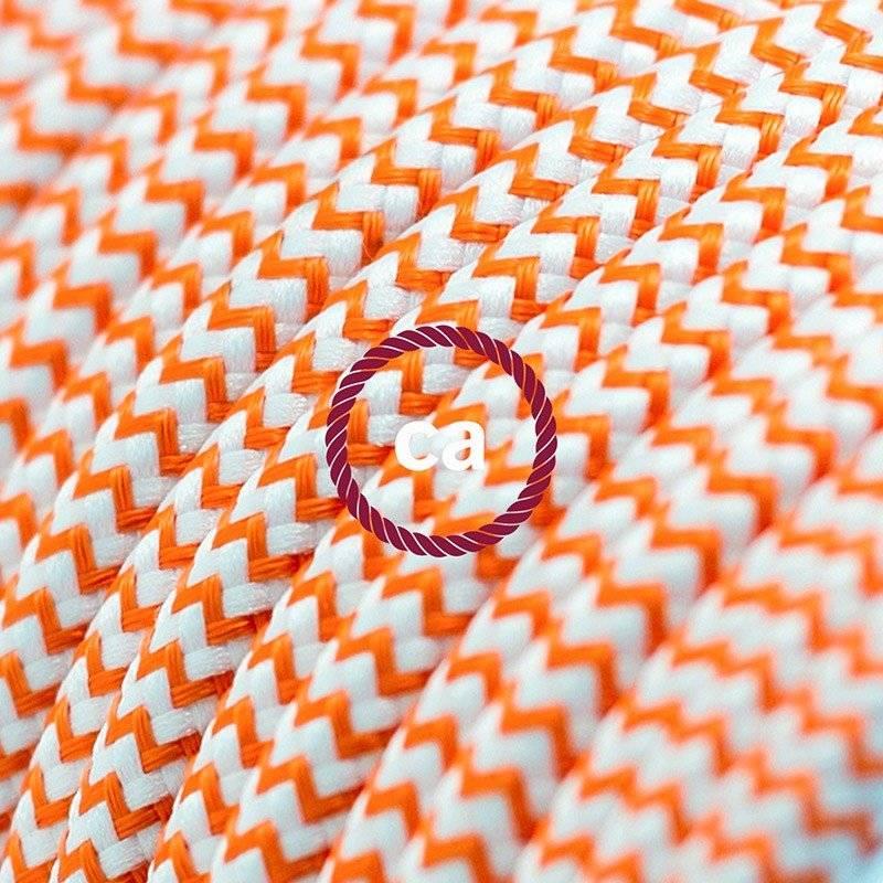 Rallonge électrique avec câble textile RZ15 Effet Soie ZigZag Blanc-Orange 2P 10A Made in Italy.
