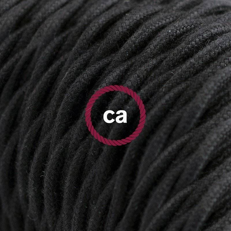 Rallonge électrique avec câble textile TC04 Coton Noir 2P 10A Made in Italy.