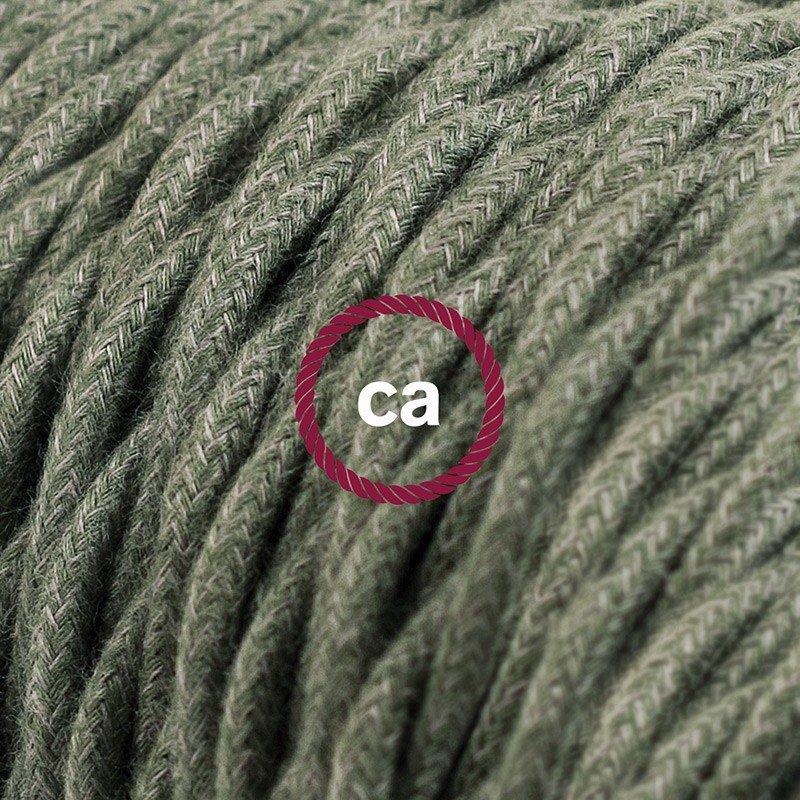 Rallonge électrique avec câble textile TC63 Coton Vert Gris 2P 10A Made in Italy.