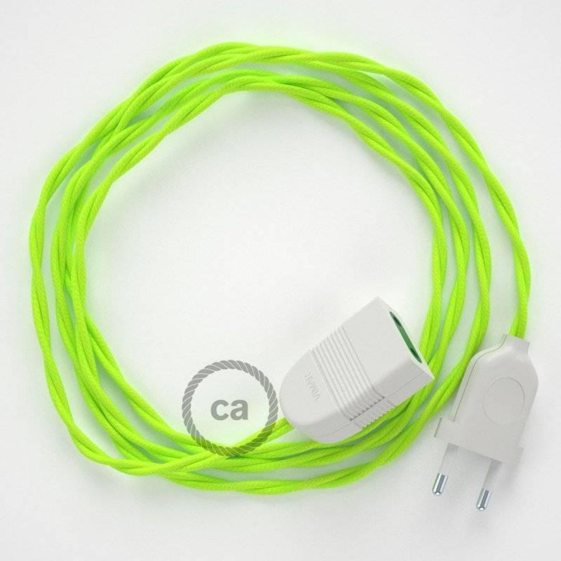Rallonge électrique avec câble textile TF10 Effet Soie Jaune Fluo 2P 10A Made in Italy.