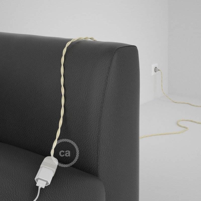 Rallonge électrique avec câble textile TM00 Effet Soie Ivoire 2P 10A Made in Italy.