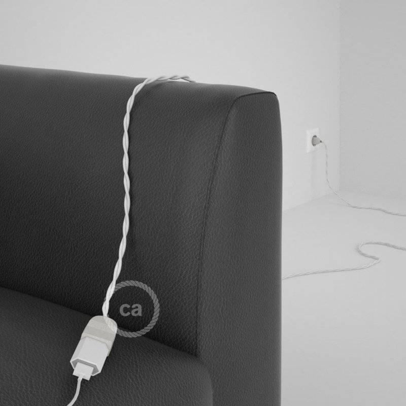 Rallonge électrique avec câble textile TM01 Effet Soie Blanc 2P 10A Made in Italy.
