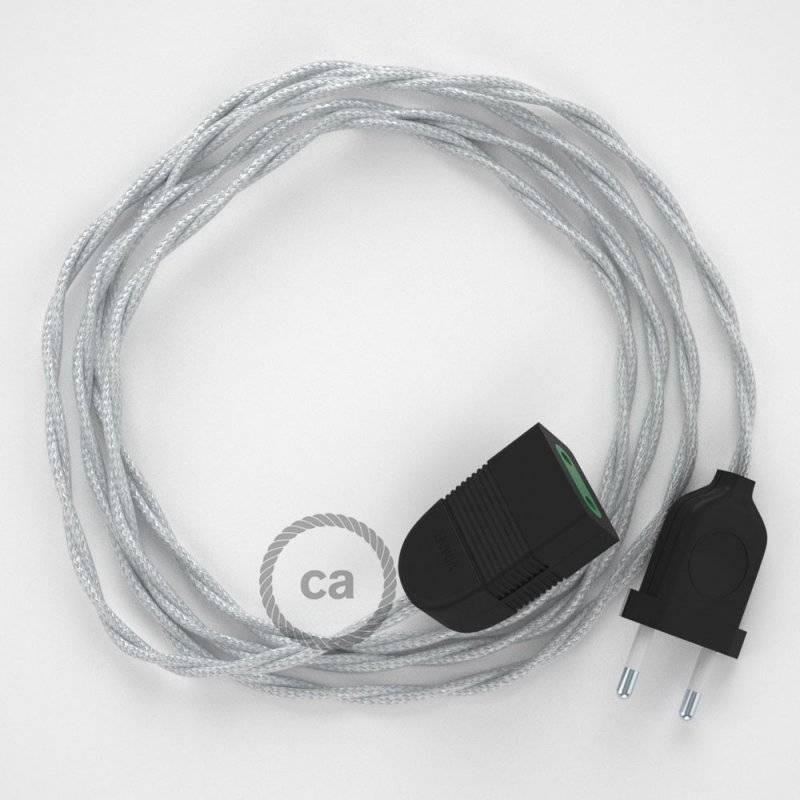Rallonge électrique avec câble textile TM02 Effet Soie Argent 2P 10A Made in Italy.