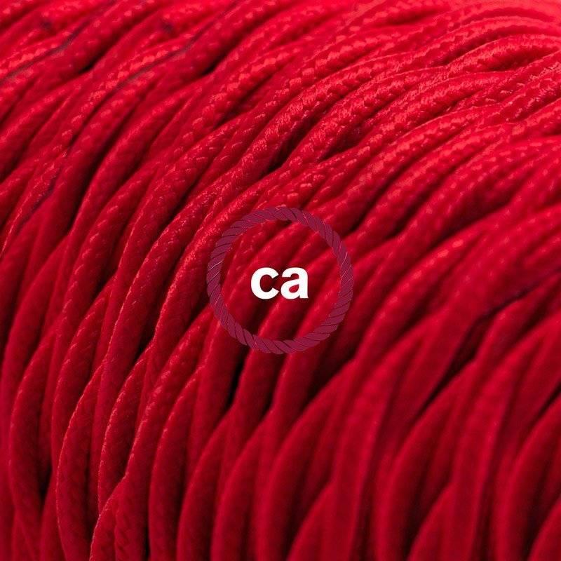 Rallonge électrique avec câble textile TM09 Effet Soie Rouge 2P 10A Made in Italy.