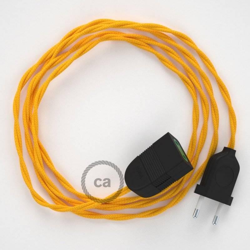 Rallonge électrique avec câble textile TM10 Effet Soie Jaune 2P 10A Made in Italy.
