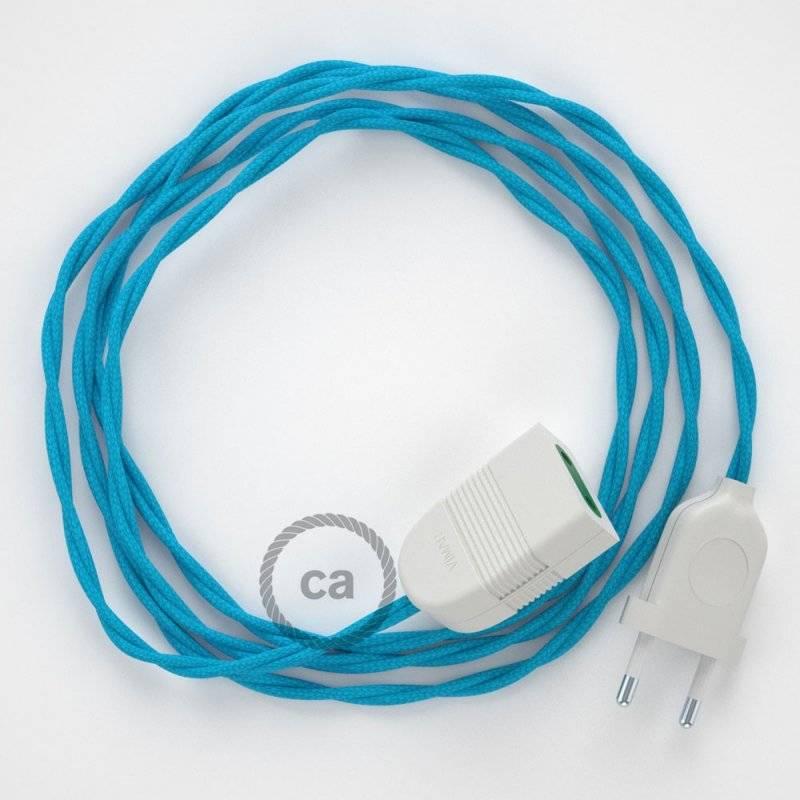 Rallonge électrique avec câble textile TM11 Effet Soie Turquoise 2P 10A Made in Italy.