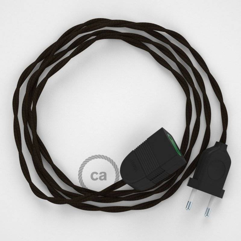 Rallonge électrique avec câble textile TM13 Effet Soie Marron 2P 10A Made in Italy.