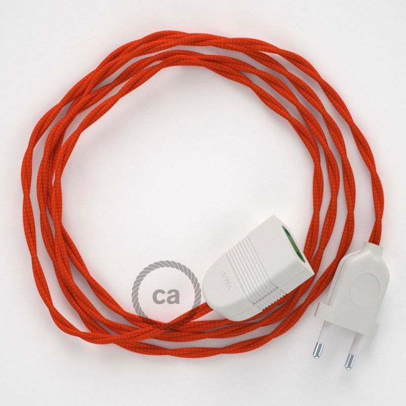 Rallonge électrique avec câble textile TM15 Effet Soie Orange 2P 10A Made in Italy.