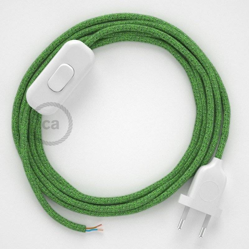 Cordon pour lampe, câble RX08 Coton Bronte 1,80 m. Choisissez la couleur de la fiche et de l'interrupteur!