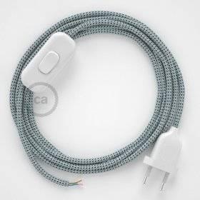 Cordon pour lampe, câble RT14 Effet Soie Stracciatella 1,80 m. Choisissez la couleur de la fiche et de l'interrupteur!