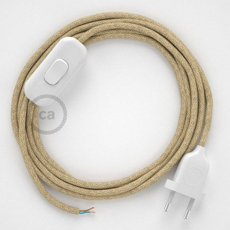 Cordon pour lampe, câble RN06 Jute 1,80 m. Choisissez la couleur de la fiche et de l'interrupteur!