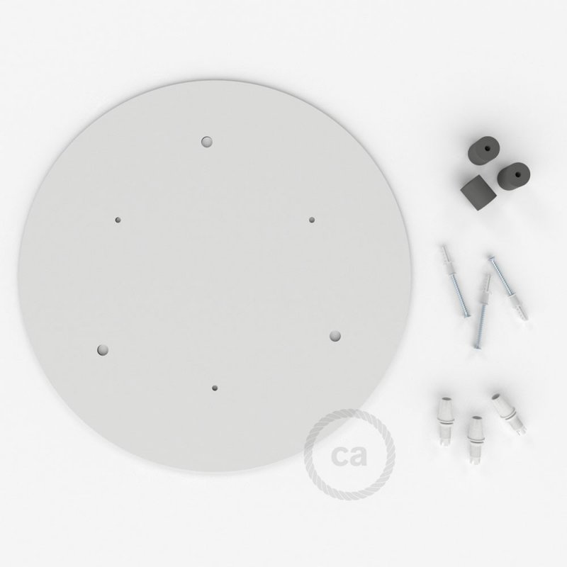 Rosace XXL ronde 35cm à 3 trous blanche avec les accessoires.