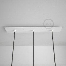Rosace XXL rectangulaire 60x12cm à 3 trous blanche avec les accessoires.