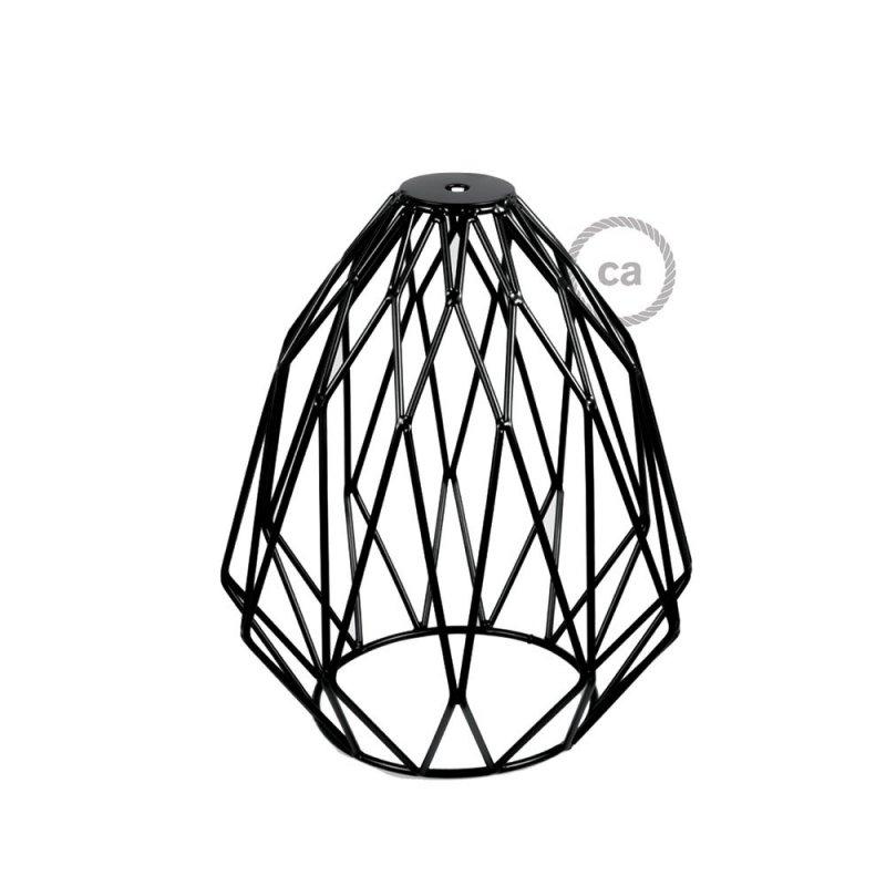 Abat-jour cage Gem métal Noir avec douille E27