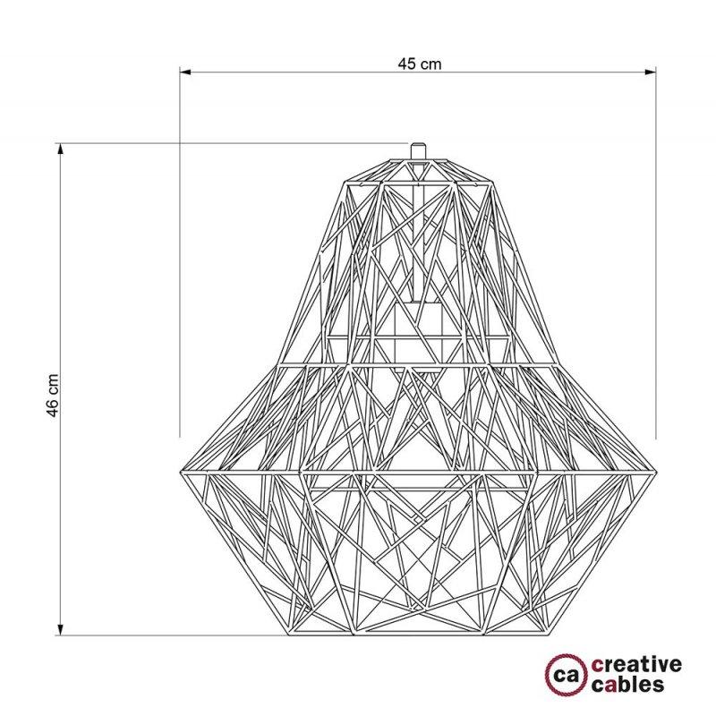 Abat-jour cage XXL Darth métal finition Cuivre avec douille E27
