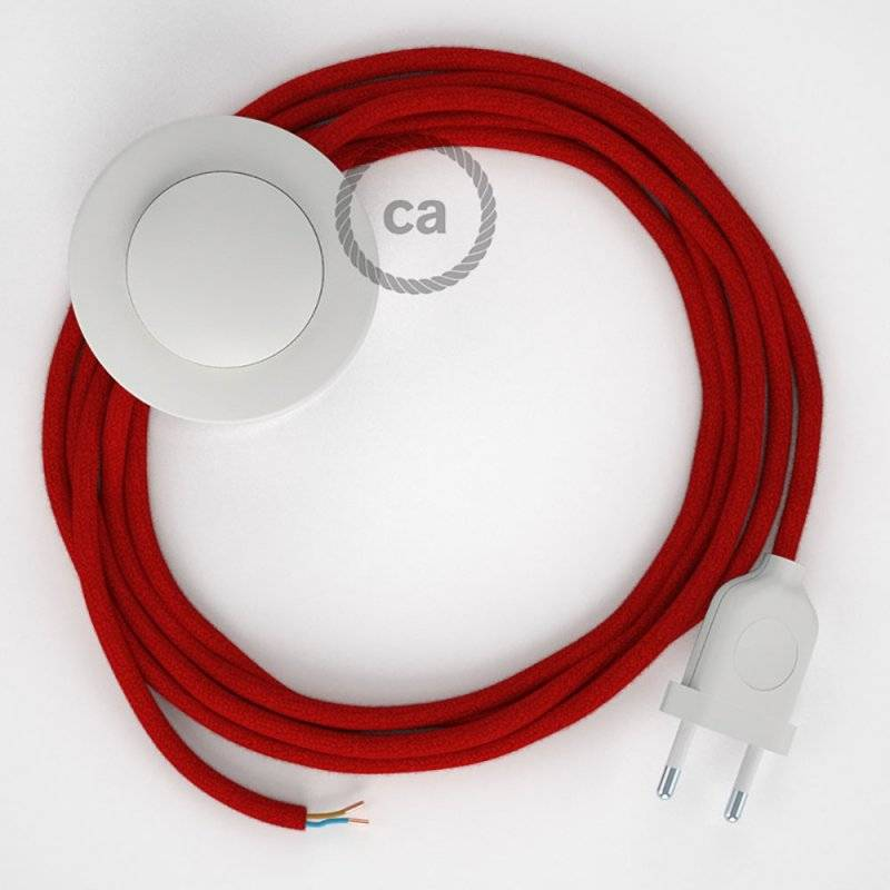 Cordon pour lampadaire, câble RC35 Coton Rouge Feu 3 m. Choisissez la couleur de la fiche et de l'interrupteur!
