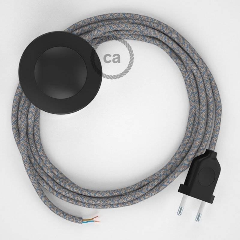 Cordon pour lampadaire, câble RD65 Losange Bleu Steward 3 m. Choisissez la couleur de la fiche et de l'interrupteur!