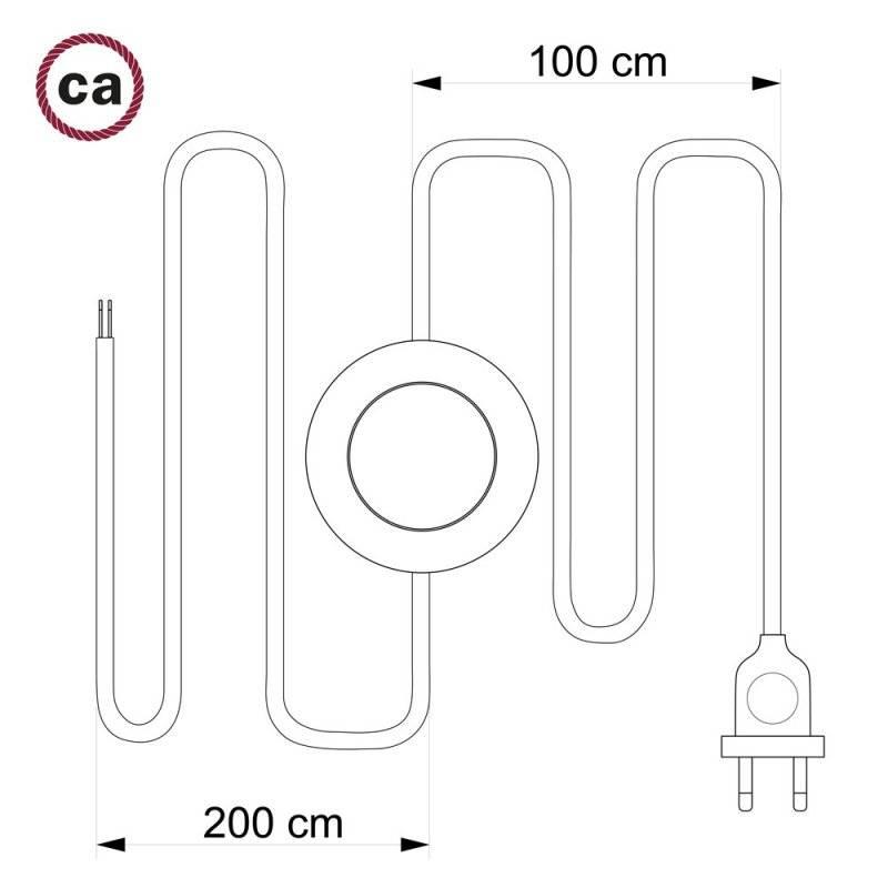 Cordon pour lampadaire, câble RM26 Effet Soie Gris Foncé 3 m. Choisissez la couleur de la fiche et de l'interrupteur!