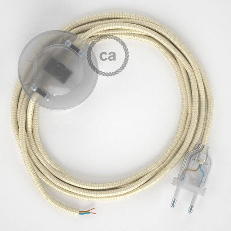 Cordon pour lampadaire, câble RM00 Effet Soie Ivoire 3 m. Choisissez la couleur de la fiche et de l'interrupteur!