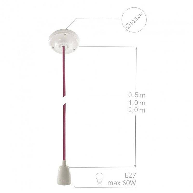 Lampe suspension en porcelaine câble textile Jute RN06