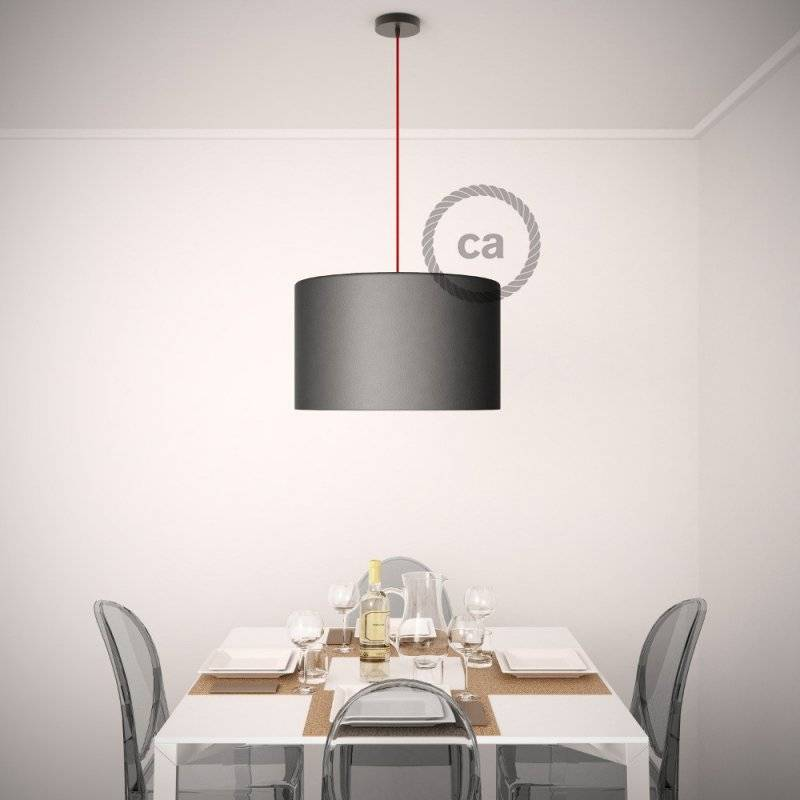 Lampe suspension pour Abat-jour câble textile Jute TN06