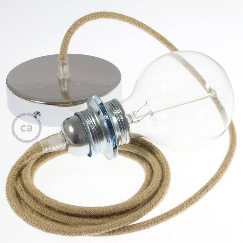 Lampe suspension pour abat jour c ble textile jute rn06 for Suspension pour lampe