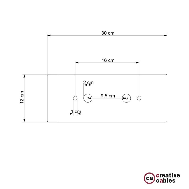 Rosace XXL rectangulaire 30x12cm à 2 trous blanche avec les accessoires.