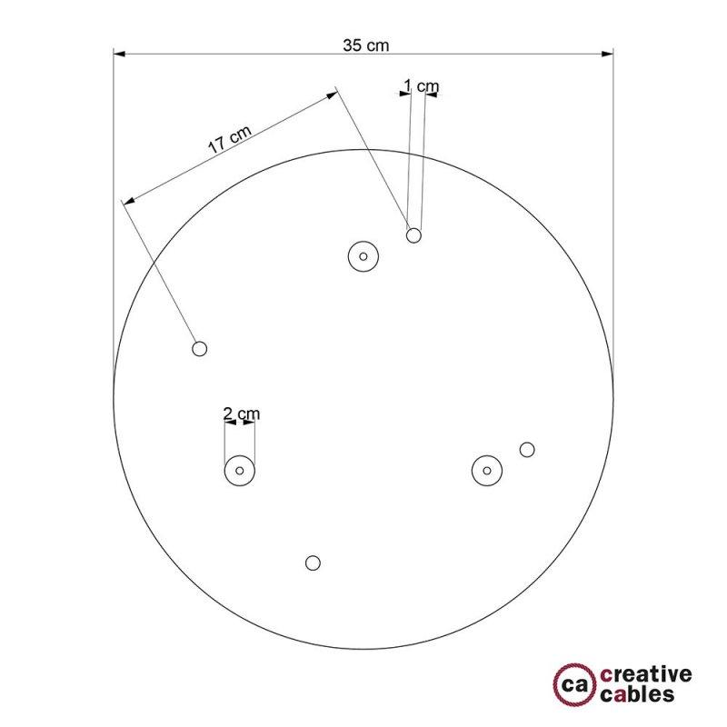 Rosace XXL ronde 35cm à 4 trous blanche avec les accessoires.
