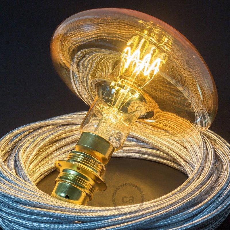 Ampoule Dorée XXL LED - Champignon Filament Courbe avec Spirale horizontale 5W E27 Dimmable 2000K