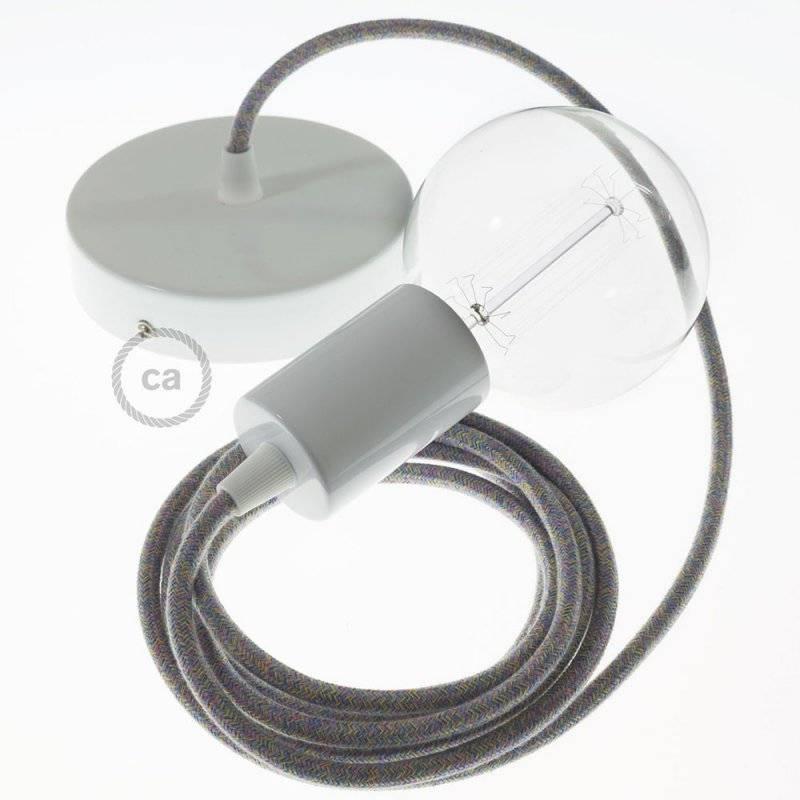 Lampe suspension câble textile Coton Lollipop RX09