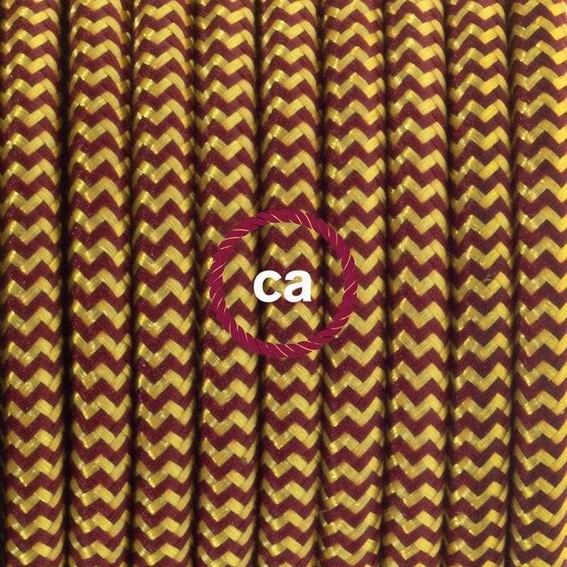 Lampe suspension câble textile Effet Soie ZigZag Or et Bordeaux RZ23