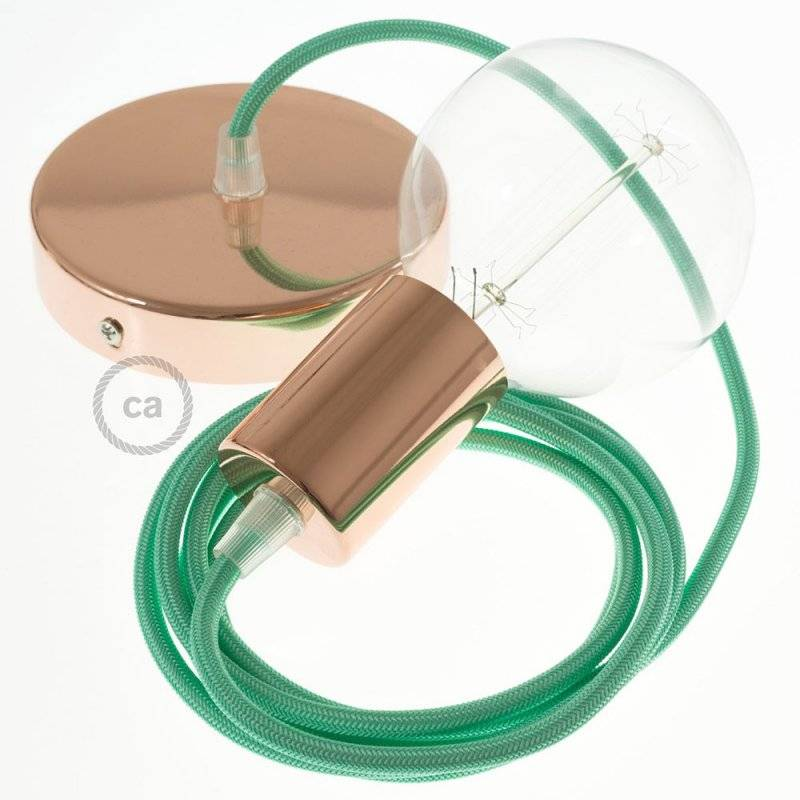 Lampe suspension câble textile Effet Soie Opal RH69