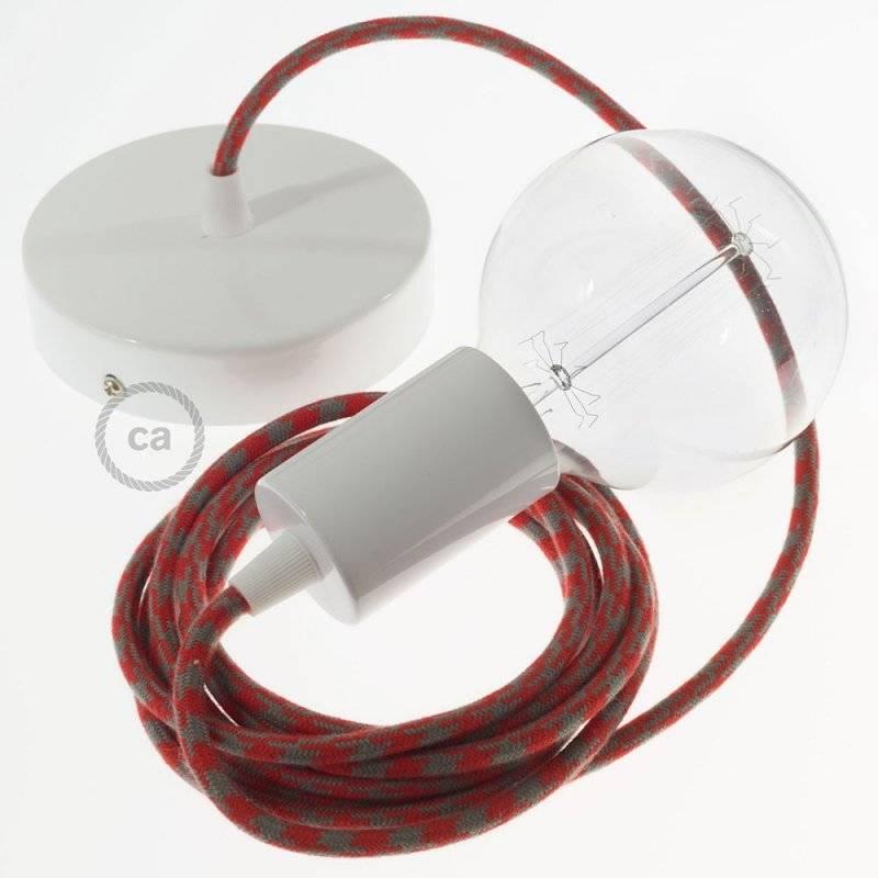 Lampe suspension câble textile Coton Bicolore Rouge Feu et Gris RP28