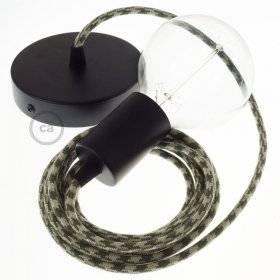 Lampe suspension câble textile Coton Bicolore Vert Thym et Tourterelle RP30