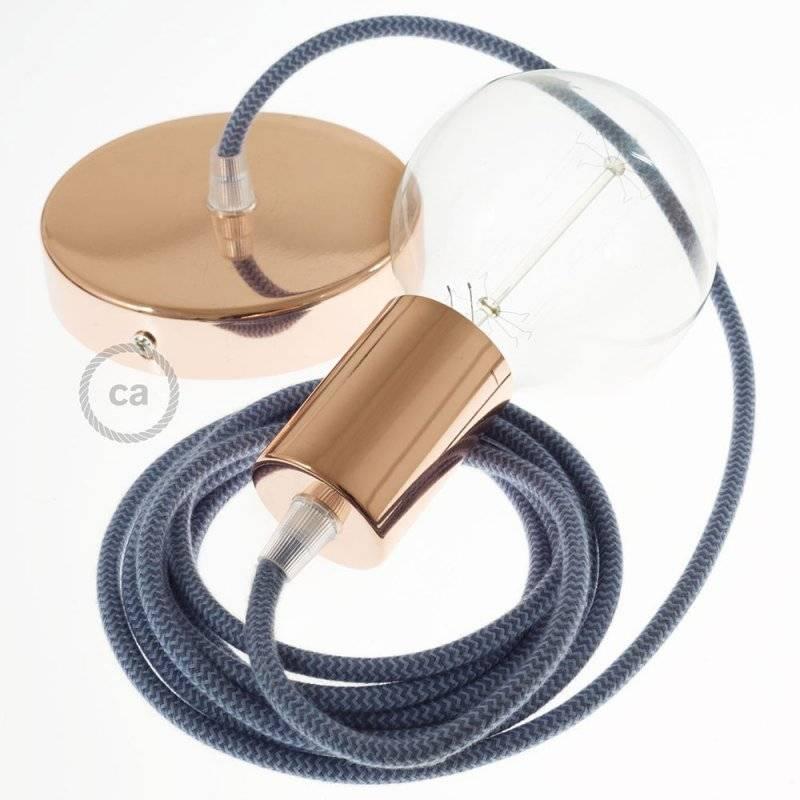 Lampe suspension câble textile Coton ZigZag Gris Pierre et Océan RZ25