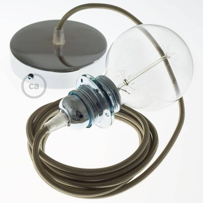 Lampe suspension pour Abat-jour câble textile Effet Soie Cipria RM27
