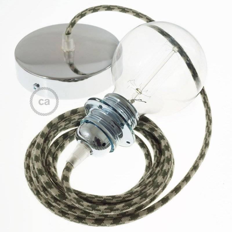 Lampe suspension pour Abat-jour câble textile Coton Bicolore Vert Thym et Tourterelle RP30