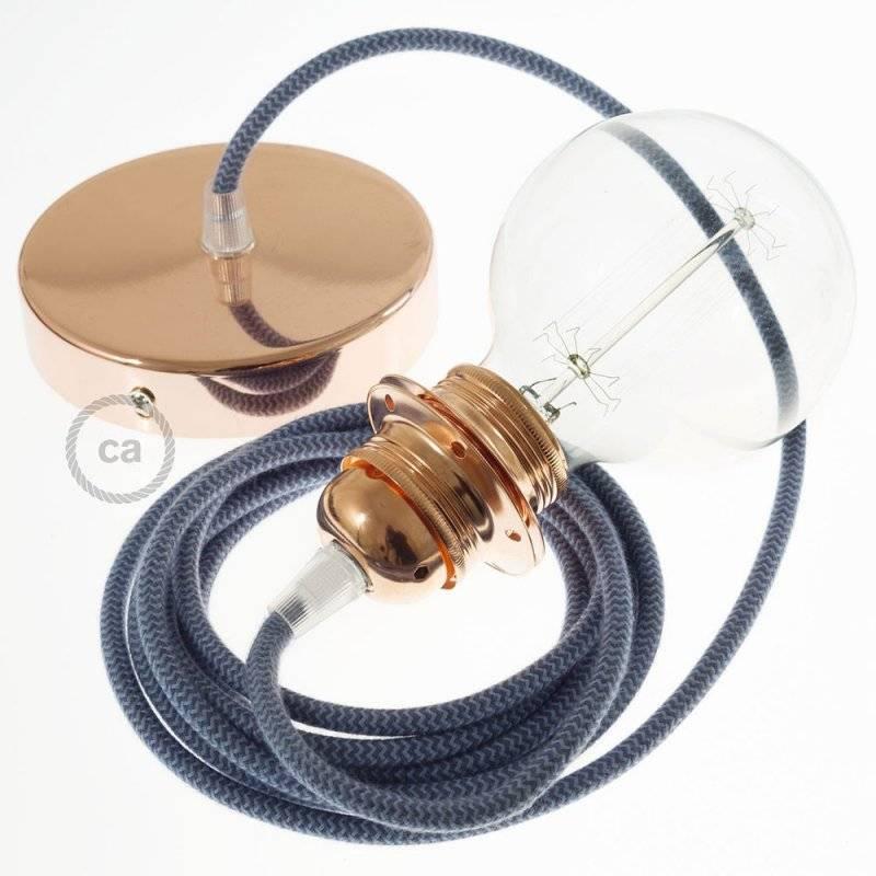 Lampe suspension pour Abat-jour câble textile Coton ZigZag Gris Pierre et Océan RZ25