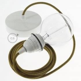 Lampe suspension pour Abat-jour câble textile Coton ZigZag Miel Doré and Anthracite RZ27