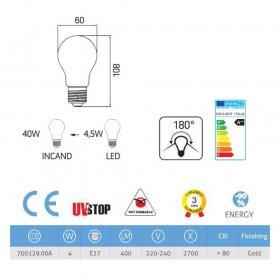 Ampoule LED demi-sphère doré 4W E27 2700K