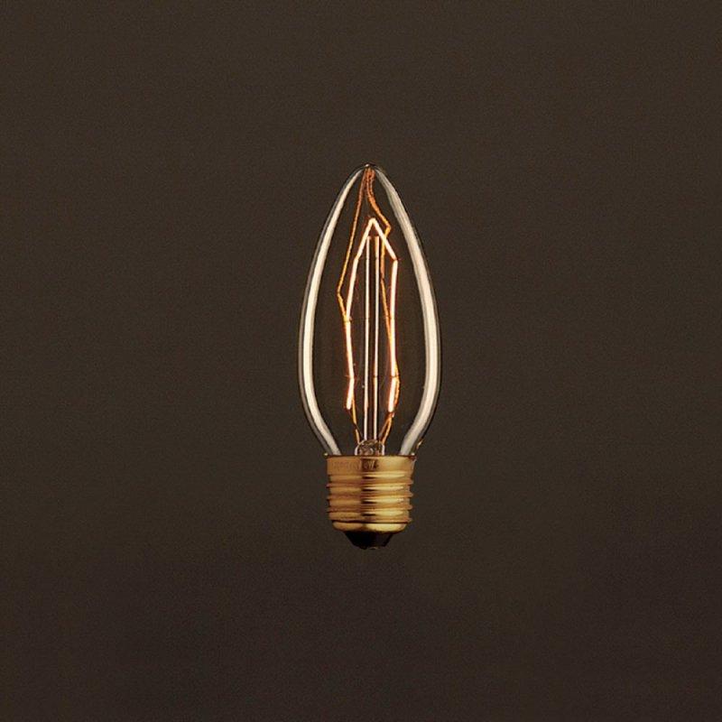 Ampoule Vintage Dorée Bougie C35 Filament Carbone ZigZag 25 W E27 Dimmable 2000K