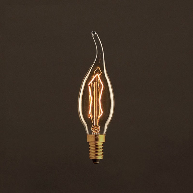 Ampoule Vintage Dorée Coup de vent C35 Filament Carbone ZigZag 25 W E14 Dimmable 2000K